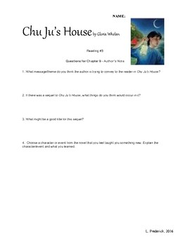 Chu Ju's House Chapter Questions and Discussions