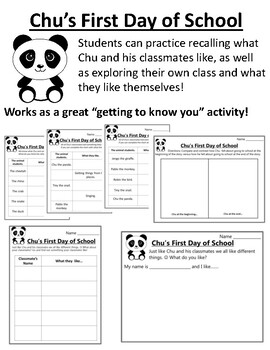 Chu's First Day of School Activities Chu's First Day of School Worksheets  Fun