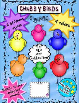Chubby Bird Clip Art--Full Set