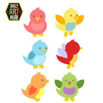 Chubby Birds Clip Art - Great for Art Class Projects!