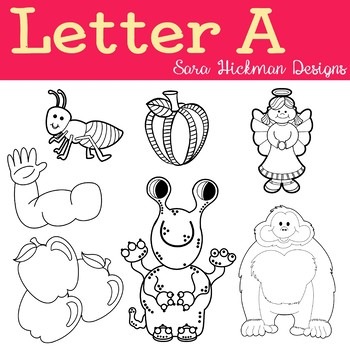 Chubby Cheek Clipart - Letter A (black and white only)