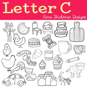 Chubby Cheek Clipart - Letter C (black and white only)