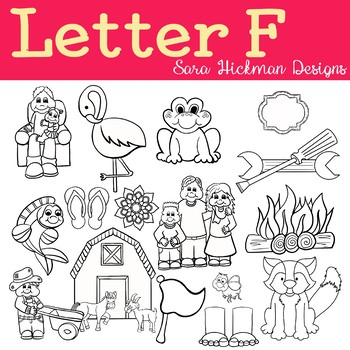 Chubby Cheek Clipart - Letter F (black and white only)