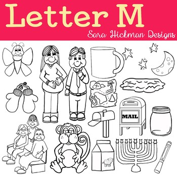 Chubby Cheek Clipart - Letter M (black and white only)