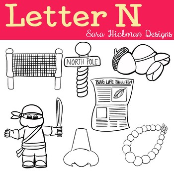 Chubby Cheek Clipart - Letter N (black and white only)