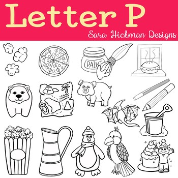 Chubby Cheek Clipart - Letter P (black and white only)
