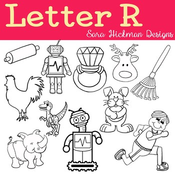Chubby Cheek Clipart - Letter R (black and white only)