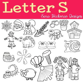 Chubby Cheek Clipart - Letter S (black and white only)