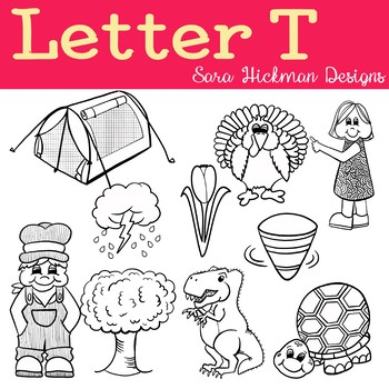 Chubby Cheek Clipart - Letter T (black and white only)