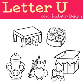 Chubby Cheek Clipart - Letter U (black and white only)