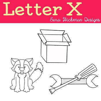 Chubby Cheek Clipart - Letter X (black and white only)