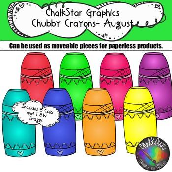 Chubby Crayons August Clip Art –Chalkstar Graphics