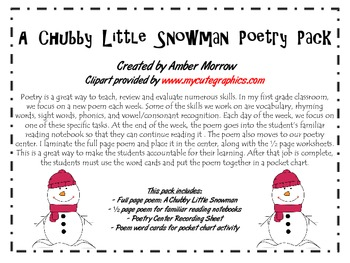 Chubby Little Snowman Poetry Pack
