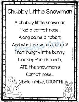 Chubby Little Snowman - Winter Poem for Kids