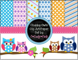 Chubby Owl Clipart Set-Digital Paper,Borders,Backgrounds, Frame, Clip Art Images