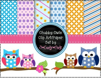 Chubby Owl Clipart Set-Digital Paper,Borders,Backgrounds,