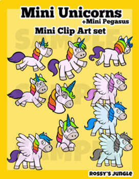 Chubby unicorns Mini Clip Art set