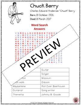 chuck berry word search and research activity by