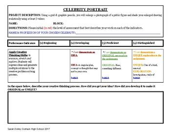 Chuck Close Celebrity Portrait Grid Project Unit Student Self-Assessment