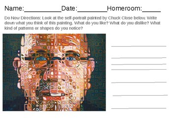 chuck close inspired self portrait project presentation worksheet bundle. Black Bedroom Furniture Sets. Home Design Ideas