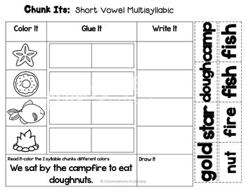 Closed Syllable Short Vowel Word Work Chunks Its