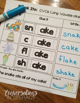 Long Vowel Activities Chunk Its