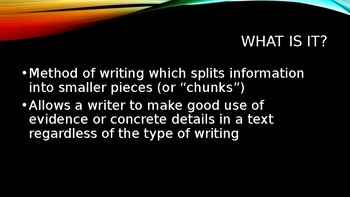 Chunk Paragraph Writing Introduction PowerPoint