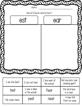 Chunk Spelling Word Families and Activities