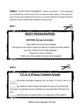 Chunked Writing Practice for Informative Essays: Ideal Writer's NB Activity
