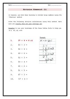 Division homework worksheets