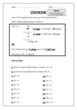 Chunking Division Worksheet