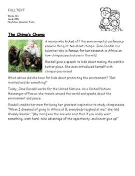 Chunking Parsing the Text THE CHIMP'S CHAMP RTI MTSS Reading Character  Traits