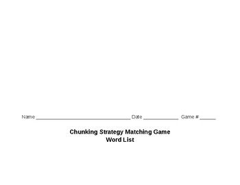 Chunking Reading Strategy Matching Game 2