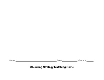 Chunking Reading Strategy Matching Game 3