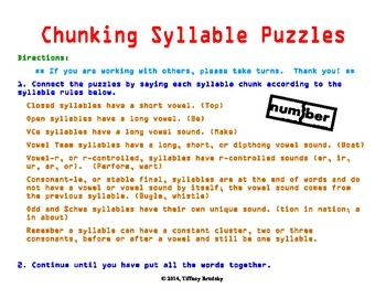 Chunking Syllables Puzzles