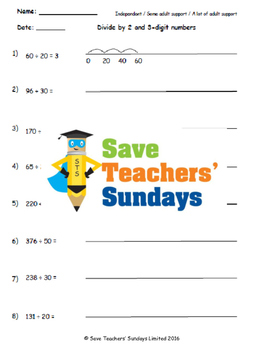 Chunking on a number line, with remainders lesson plans, worksheets and more