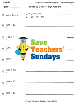 Chunking on a number line worksheets (3 levels of difficulty)