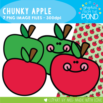 Apple Clipart - Chunky Apple Set - Clipart and Digital Paper