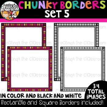 Chunky Borders Clipart Set 5 {Borders Clipart}