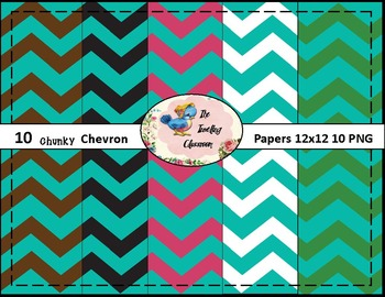 Chunky Chevron Papers (Digital Papers for Commercial Use)