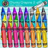 Rainbow Chunky Crayon Clip Art {Back to School Supplies for Classroom Decor} 2