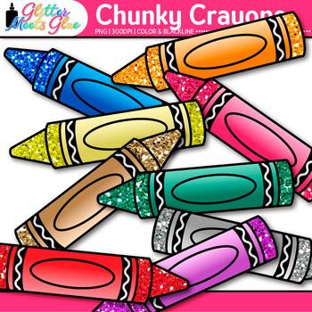 Chunky Crayon Clip Art {Rainbow Glitter Back to School Supplies for Teachers}