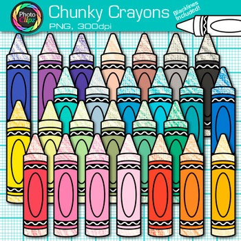 Rainbow Chunky Crayon Clip Art {Back to School Supplies for Classroom Decor} 1