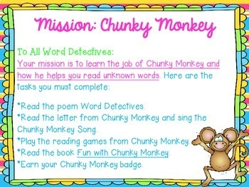 Chunky Monkey Reading and Decoding Strategy Activities for Guided Reading
