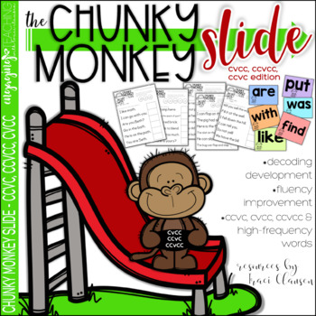 Chunky Monkey Slide - CVCC, CCVC and CCVCC Chunks - Reading Strategies