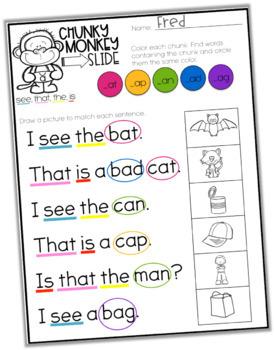 CVCC, CCVC and CCVCC Activities - Chunky Monkey Slide -Chunking Words Activities