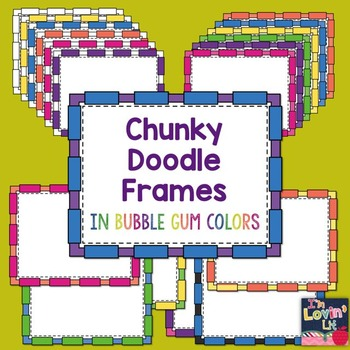 Chunky Rectangle Doodle Frames in Bubble Gum Colors