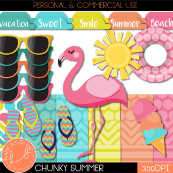 Chunky Summer Digital Paper and Accent Set