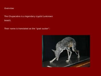 Chupacabra - Cryptid - Power Point - Information Facts History Pictures