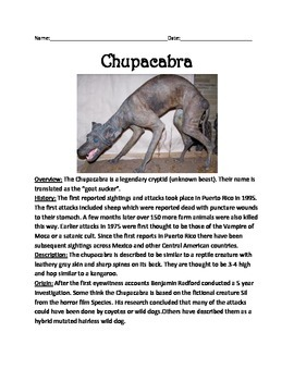 Chupacabra - Cryptid Review Article Information Facts Questions Vocab